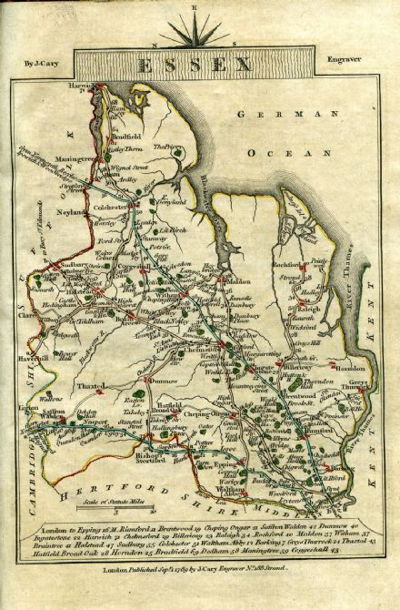 Essex County Map by John Cary 1790 - Reproduction